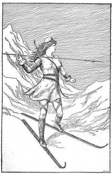 """Skaði Hunting in the Mountains"" by H.L.M."